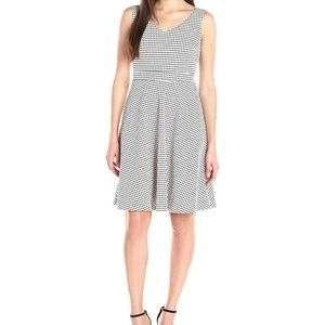 Check Jacquard Fit-and-Flare Dress